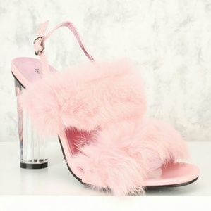 NWT sexy PINK faux FUR clear CHUNKY heel Shoe